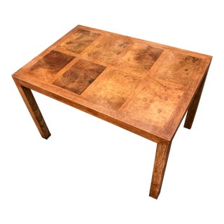 Scandinavian Midcentury Burl Wood and Pecan Side Table For Sale