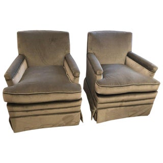 1940s Traditional Movistar Grey Velvet Club Chairs - a Pair For Sale