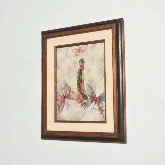 1950s Mixed Media Art, Japanese Woman Pink Butterflies, Signed Painting For Sale - Image 5 of 11