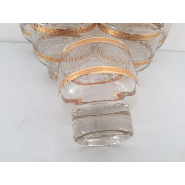 Mid Century Gold & Clear Textured Short Cocktail Glasses - Set of 6 For Sale In New York - Image 6 of 8