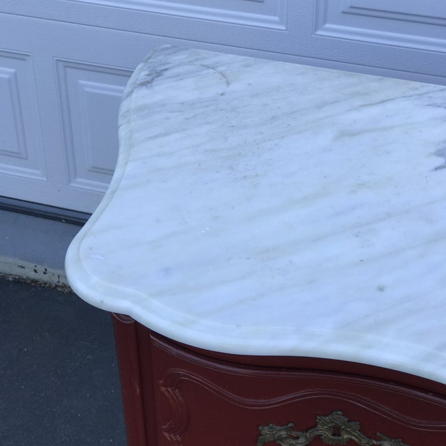 Stone Baker Marble Topped Painted Chippendale Dresser of Drawers For Sale - Image 7 of 13