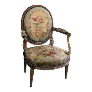 Mid Century Louis XV Style Fauteuil For Sale