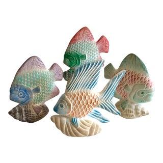 Vintage Mid Century Modern Cast Plaster Ceramic Hand Painted Fish Sculptures - Set of 4 For Sale