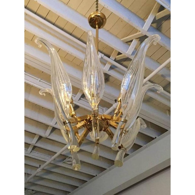 Italian Seguso Murano Glass and Brass Eight-Leaf Cattail Chandelier - Image 2 of 7