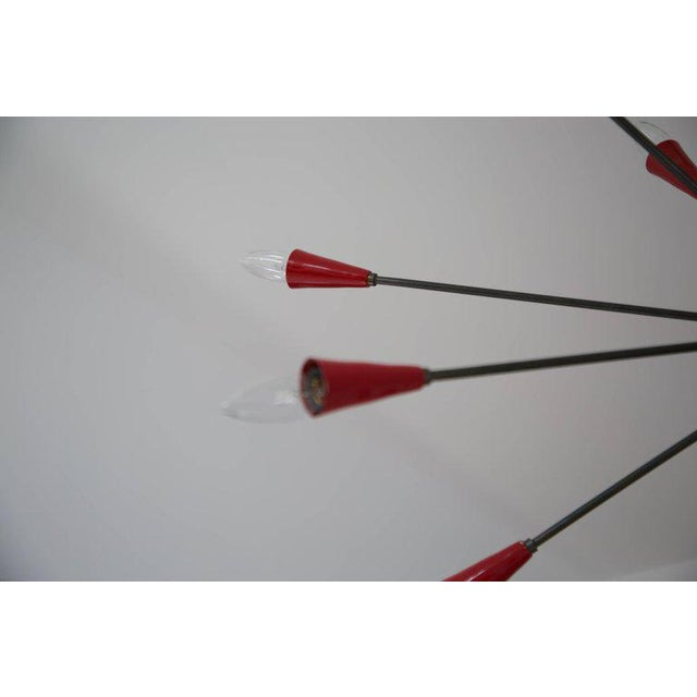 Italian Red Stilnovo Style Seventeen-Light Sputnik Chandelier, Circa 1950 For Sale - Image 9 of 11