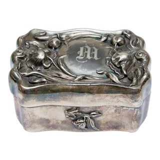 Art Nouveau Silver Plate Jewelry Box For Sale