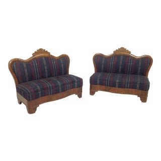 Late 19th Century Vintage Victorian Love Seats- a Pair For Sale