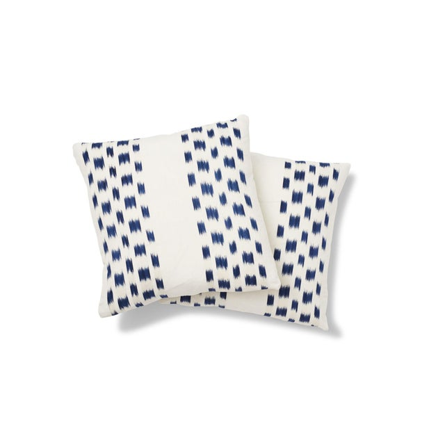 Contemporary Schumacher Izmir Stripe Pillow in Blue/White 26x26 - Pair For Sale - Image 3 of 8