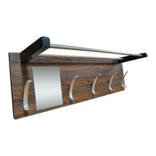 Vintage Mid Century Modern Walnut and Chrome Wall Hanging Rack, C. 1960 For Sale