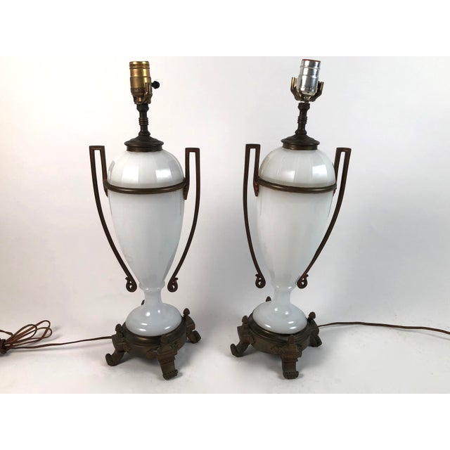 Louis XVI Style Neoclassical White Opaline Glass and Ormolu Lamps - a Pair For Sale - Image 12 of 13