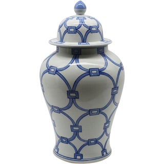 Blue & White Porcelain Lover Locks Temple Jar For Sale