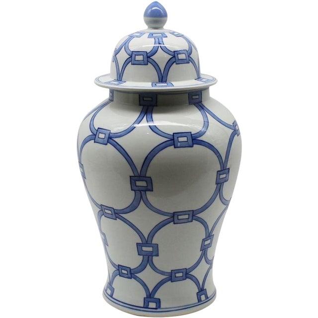 Blue & White Porcelain Lover Locks Temple Jar For Sale