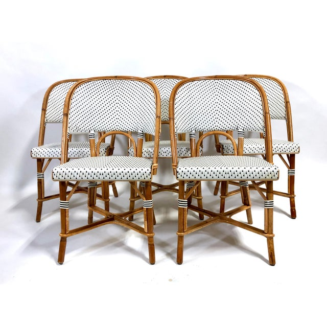 Maillot French Bistro Woven Bamboo Rattan Chairs—Set of 5 For Sale - Image 12 of 13