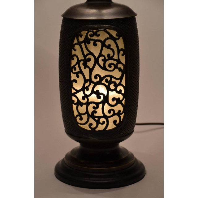 Asian Antique Chinese Bronze Lantern Lamp For Sale - Image 3 of 7