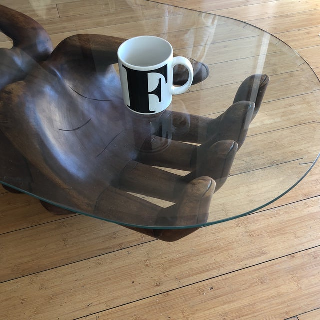 Contemporary 1980s Contemporary Wooden Guayasamin Open Hands Coffee Table For Sale - Image 3 of 11