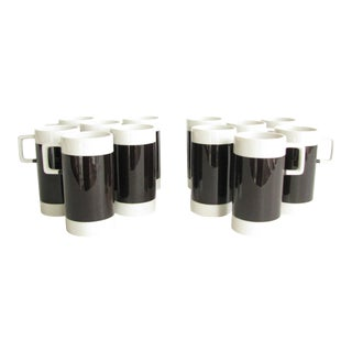 Vintage Braniff International Airlines Black White Espresso Lungo Demitasse Cups by Hall - Set of 12 For Sale