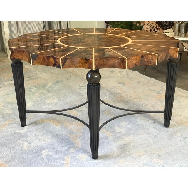 1980s Maitland Smith Inspired Scalloped Oval Lacquered Tobacco Leaf Top Entry Table For Sale In Houston - Image 6 of 10