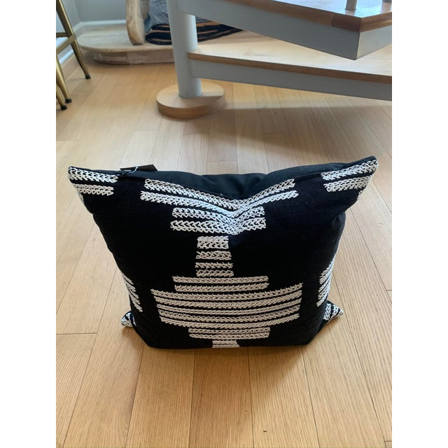 Black Pillows With White Embroidery Pattern For Sale - Image 4 of 5