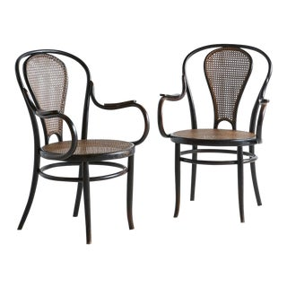 Joseph Kohn, Black Bentwood + Caned Pair of Chairs, 1900s For Sale