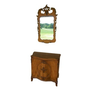 Vintage Regency Style Mahogany 2 Door Commode With Matching Mirror For Sale