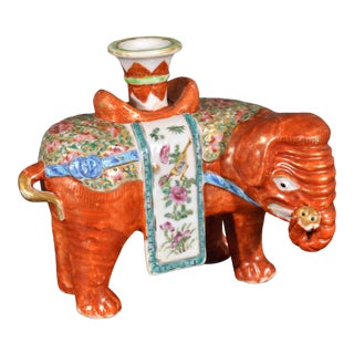Chinese Export Porcelain Canton Famille Rose Elephant Candlestick For Sale