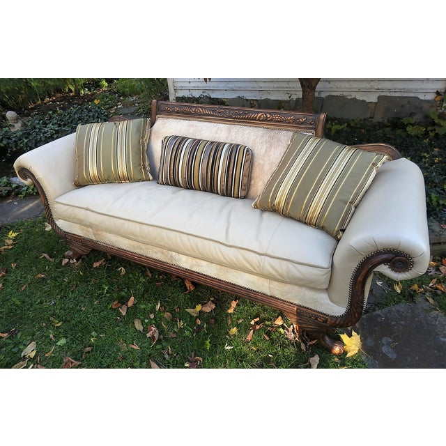 Old Hickory Tannery Horsehair & Leather Sofa - Image 2 of 11