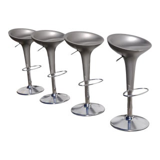 1990s Original Magis Bombo Metalic Grey Bar Stools by Stefano Giovannoni - Set of 4 For Sale
