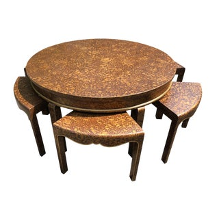 1970s Chinoiserie Chic Faux Tortoise Tea Table and Chairs - 7 Pieces For Sale