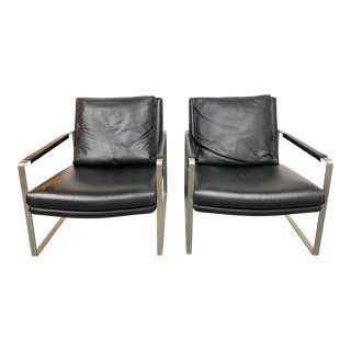 Camerich Leman Lounge Leather Arm Chairs- a Pair For Sale