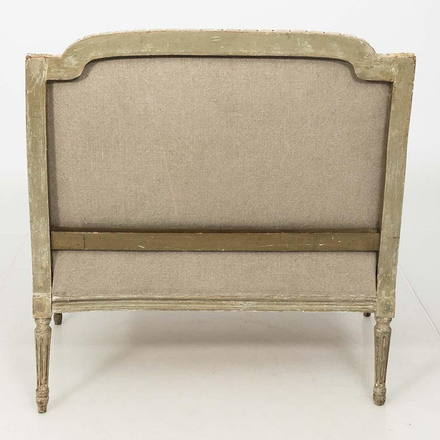 French Louis XVI Style Marquise Loveseat in Natural Linen For Sale - Image 12 of 13