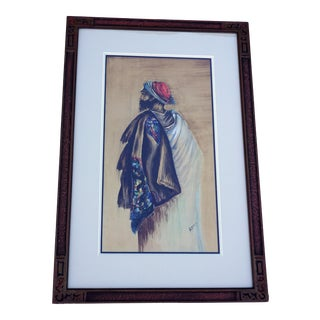 Original Watercolor Portrait of Middle Eastern Male-Signed