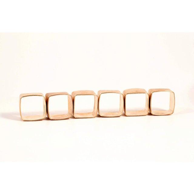 Brushed Gold Modernist Napkin Rings - Set of 6 - Image 5 of 5