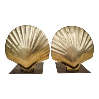 Mid-Century Brass Shell Bookends- a Pair For Sale