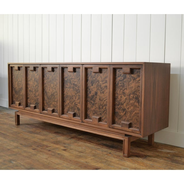 Mid-Century Modern James Mont Style Mid Century Credenza With Burl Doors For Sale - Image 3 of 12