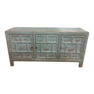 Boho Chic Distressed Tiffany Blue Buffet For Sale