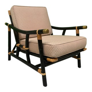 Black and Tan Rattan Lounge Chair For Sale