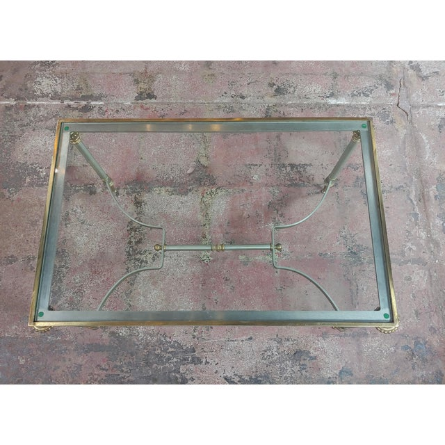 1970s Beautiful Vintage Brass French Coffee Table W/Glass Top For Sale - Image 5 of 10