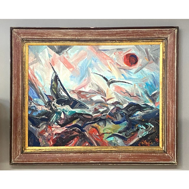 Blue Large Vintage Oil on Canvas Signed Charles Melohs Seascape Nautical Scene Painting Framed For Sale - Image 8 of 8