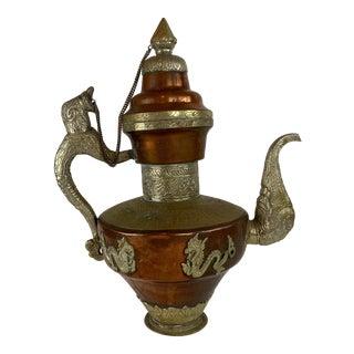 Antique 19th Century Large Tibetan Copper & Brass Teapot For Sale
