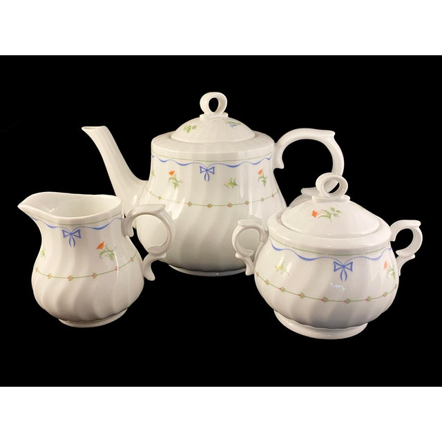 Vintage Royal Worcester Ribbons & Bows Teapot, Sugar and Creamer Set - 3 Pieces For Sale In Boston - Image 6 of 6