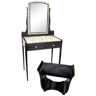 AMAZING & RARE ART DECO SHAGREEN MAURICE DUFRENE VANITY WITH MATCHING BENCH
