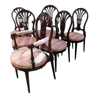 Louis XVI Style Dining Chairs Attrib. Jansen - Set of 6 For Sale