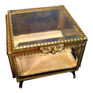 Vintage Hollywood Regency Gilt Jewelry Casket For Sale