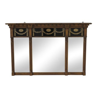 Vintage Federal Style 3 Panel Mirror With Reverse Painted Glass For Sale