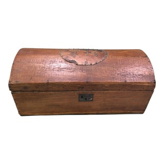 Domed Top One Board Wood Trunk For Sale