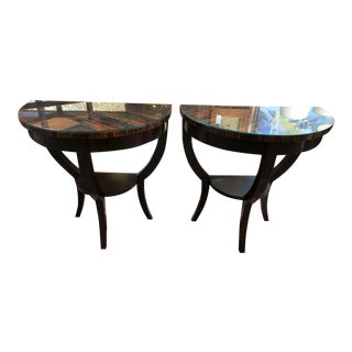 Macassar Demilune Tables - a Pair For Sale