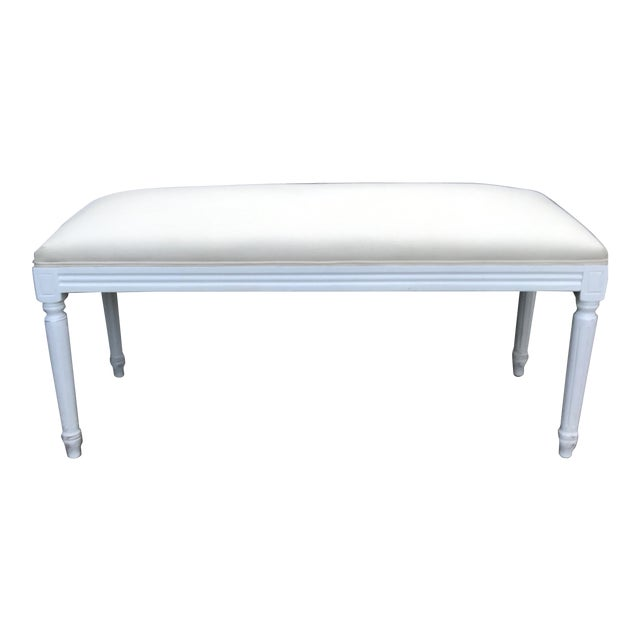 Louis XV Style Linen Upholstered Bench For Sale