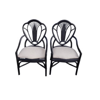 Pair Mid Century Faux Bamboo Fan Back Black Armchairs For Sale