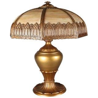 20th Century Antique Arts & Crafts Slag Glass Panel Lamp & Filigree Shade