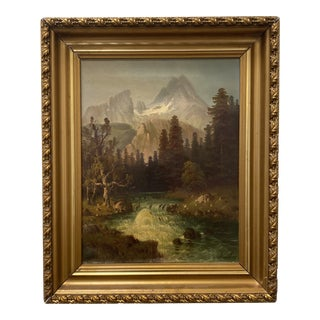 Late 19th Century Mountain Landscape Oil Painting, Framed For Sale